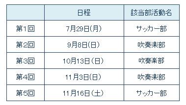 2019部活動体験日程